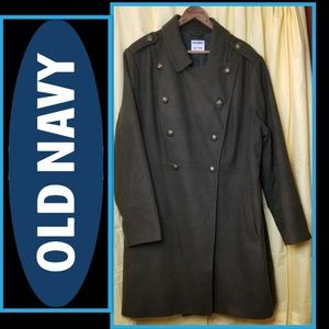 Old Navy Peacoat in Army Green Wool Blend XXL